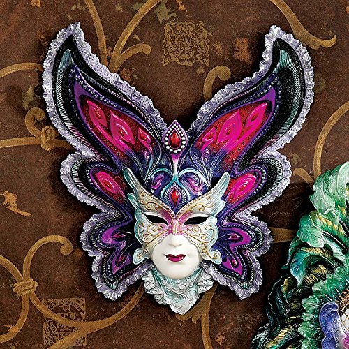 Design Toscano Maidens of Mardi Butterfly Maiden Gras Wall Mask Sculpture
