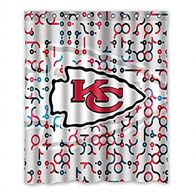 "DONGMEN Generic NFL Kansas City Chiefs Polyester Fabric Shower Curtain 60"" x 72"""