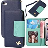 Case for Iphone 4,Case for Iphone 4s, By HiLDA,Wallet Case,PU Leather Case,Cut,Credit Card Holder,Flip Cover Skin,(Blue)