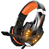 BENGOO Stereo Gaming Headset for PS4, PC, Xbox One Controller, Noise Cancelling Over Ear Headphones Mic, LED Light, Bass Surround, Soft Memory Earmuffs for Laptop Mac Nintendo Switch Games - Orange (Color: Orange)