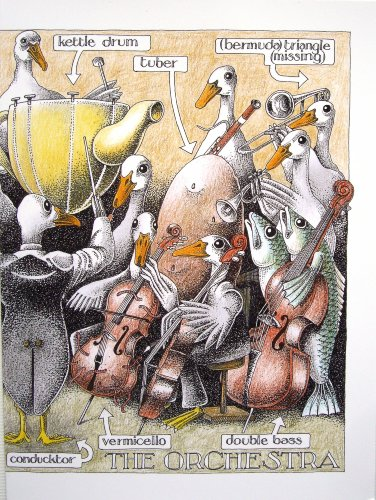 The Orchestra - Simon Drew Humorous Blank Greeting Card