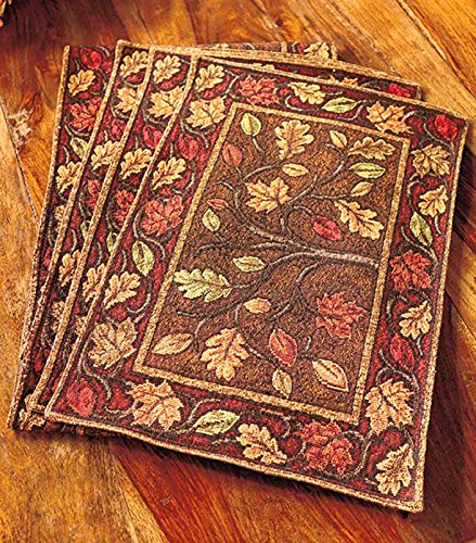Harvest Leaves Tapestry Placemats, Set of 4