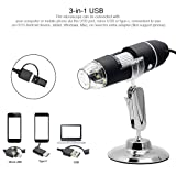 Microscope, KKmoon USB Digital Zoom Microscope Magnifier with OTG Function 8-LED Light Magnifying Glass 1000X Magnification with Stand (Color: Black, Tamaño: Type 1)