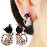 HENGSONG 1 Pair Black Beads Cat Shape Plated Gold Stud Earrings Alloy Lovely Cute Jewelry Gifts Charms
