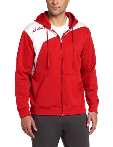 Asics Men'S Logo Fleece Jackets, Large, Red/White