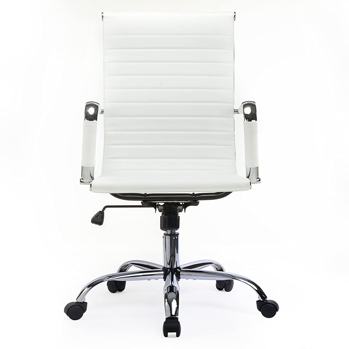 GTP Office Chair Modern Ribbed Swivel Conference Chair Leather Office Chairs High Back Ergonomic Adjustable Chair with Arms (WHITE)