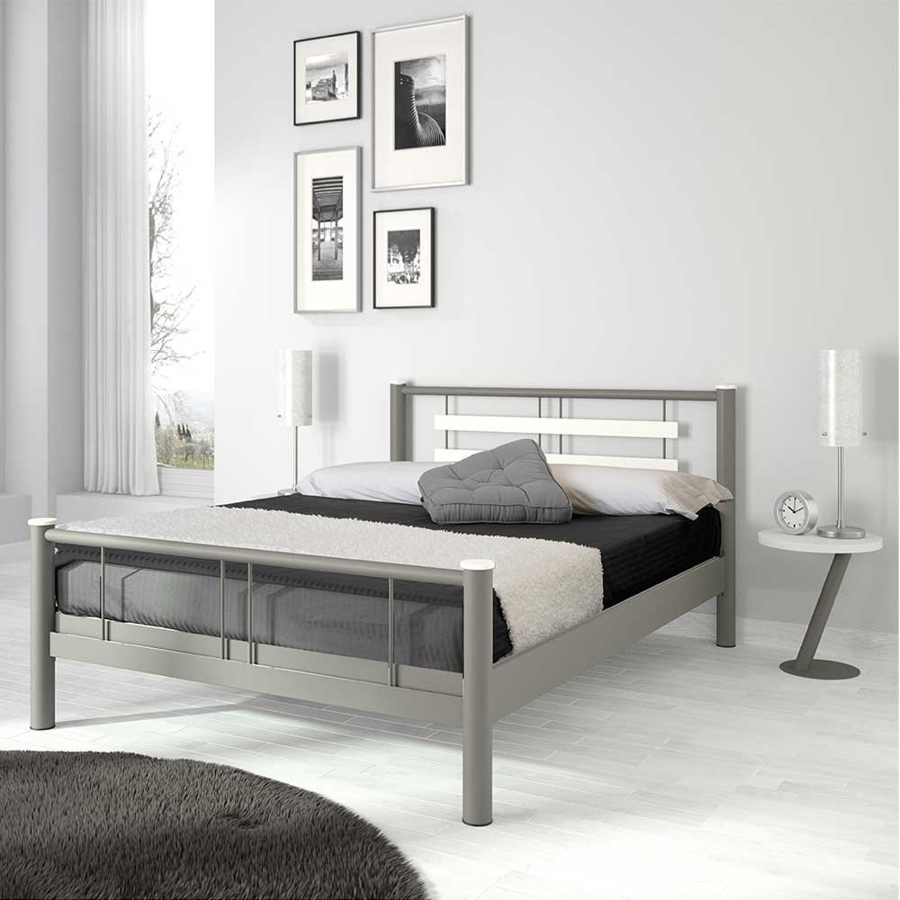 Jugendbett in Weiß Grau Metall Breite 149 cm Liegefläche 140x200 Pharao24