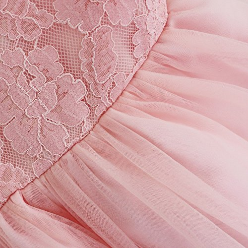 FEESHOW Baby Girl Lace Flower Princess Wedding Party Pageant Birthday Tutu Dress Size 12-18 Months Pink