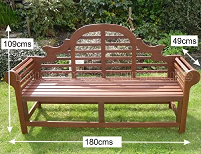 Richmond Large Hardwood Garden Bench Lutyens Marlboro Style 180cms 6ft Great Outdoor Furniture For Your Garden or Patio Marlborough