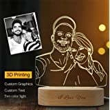 Personalized Photo 3D Crystal Lamp Night Light 2 RGB Color Changing,LED Table Lamp, Engraving Text for Christmas Gifts (Color: 2 colors, Tamaño: 7.5inx5in)