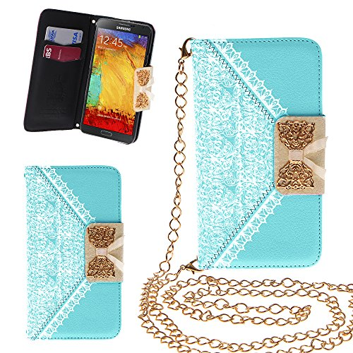 Xtra-Funky Exclusive Pu Leather Lace Pattern & Golden Bow Flip Case Cover Purse Handbag With Credit Card And Money Slots & Detachable Golden Chain For Samsung Galaxy Note 4 - Blue