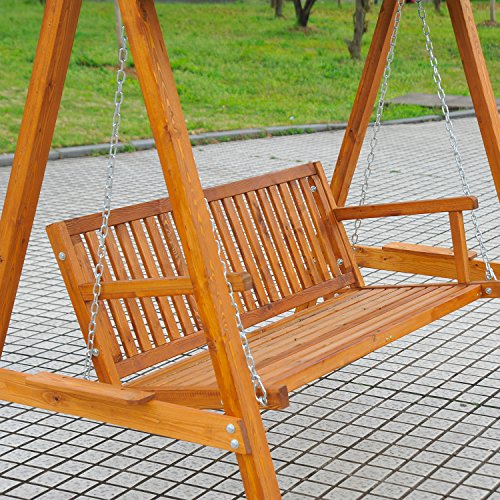 Outsunny 3 seater wooden wood garden swing chair seat for Wooden garden swing chair