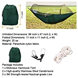 Motoraux Portable Backpacking Camping Outdoor Hammock Tent Supporting up to 400 Pounds, Parachute Folding Tree Hammocks with Mosquito Net(L x W - 98 inch x 47 inch)