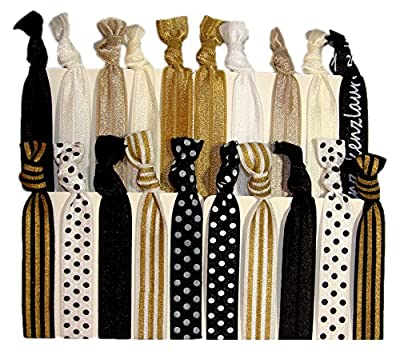 Kenz Laurenz 20-Pack Black White Gold Dots Striped Hair Bands with Ponytail Holder