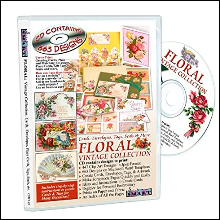 ScrapSMART - Floral Vintage Collection: Cards, Envelopes, Tags, Seals, & More - CDFL25
