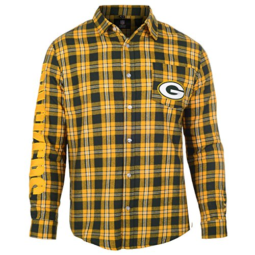 Green Bay Packers Wordmark Basic Flannel Shirt Medium