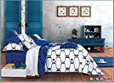 Lt Queen Size 100% Cotton 4-pieces Modern White and Blue Geometric Pattern Prints Duvet Cover Set/bed Linens/bed Sheet Sets/bedclothes/bedding Sets/bed Sets/bed Covers/5-pieces Comforter Sets (5)