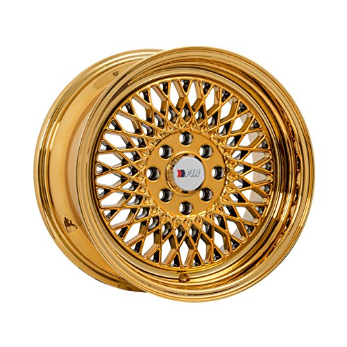 F1R F01 15 Gold Chrome Wheel / Rim 4x100 & 4x4.5 with a 25mm Offset and a 67.1 Hub Bore. Partnumber F01158GC25 (Gold Rims compare prices)