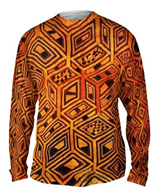 NewStyleUSA- African Tribal Kuba Cloth -Tagless- Mens Long Sleeve