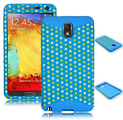Bastex Heavy Duty Hybrid Case For Samsung Galaxy Note 3 N9000 - Teal Silicone / Polka Dot Design Hard Shell