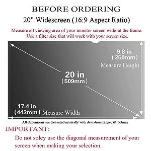 Ovimir 20 Inch (Diagonally Measured) Computer Privacy Screen Filter, [16:9 Aspect Ratio] for Widescreen Monitors Anti-Glare - Anti-Scratch Screen Protector - (WxH:443mmx250mm) (Color: 20 Widescreen (16:9 Aspect Ratio))