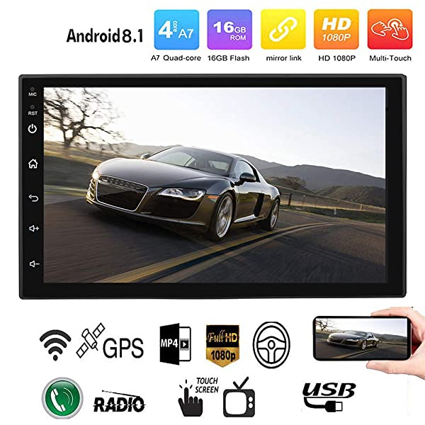 "7/"" Double 2 Din In-Dash Car MP3 MP5 Radio Player GPS Navi Touch Bluetooth+Camera"