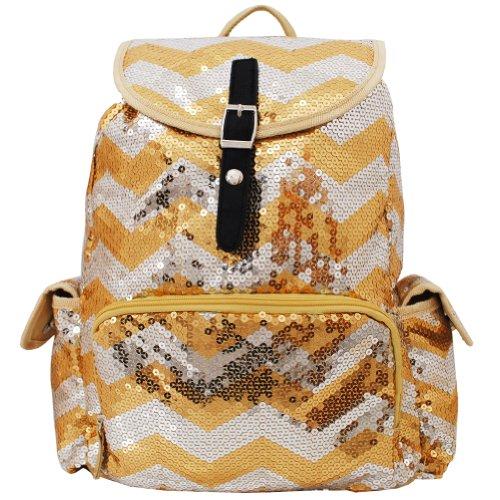 Sequin Chevron Pattern Drawstring Backpack Bookbag (Gold)