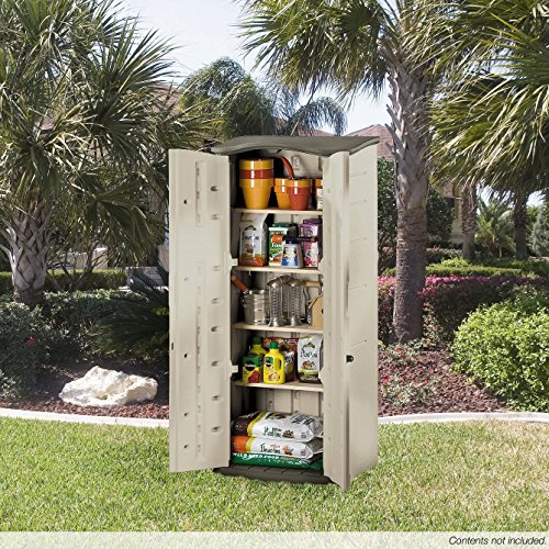 Rubbermaid Plastic Vertical Outdoor Storage Shed, 17-Cubic Foot: 25 x 30 x 72 inches  (FG374901OLVSS)