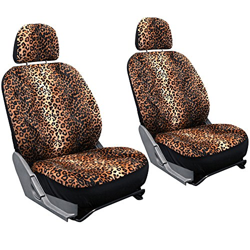 Oxgord Leopard Velour Bucket Seat Cover Set, Orange & Brown (Brown Leopard Seat Covers compare prices)