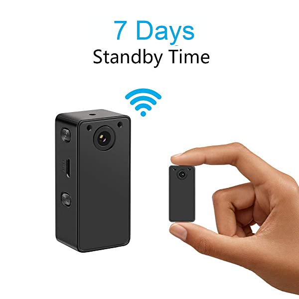 Hidden Spy Camera Wake Up by APP - Wireless Mini Camera Ideal for Multiple Covert Applications, Nanny Cam- WiFi Camera P.I.R Motion Detection iOS&Android Devices- Night Vision & 7 Days Standby Time (Color: black)