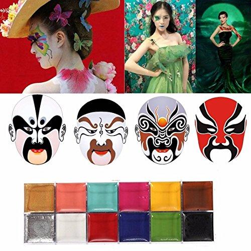 LuckyFine Face Body Paint Oil Painting Art MakeUp Palette Set Kit Halloween Party Fancy Dress 12 Color DIY (Face Grease Paint compare prices)