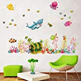 AWAKINK(TM) Under The Sea Decals Whales The Deep Blue Sea Decorative Peel Vinyl Wall Stickers Wall Decals Removable...