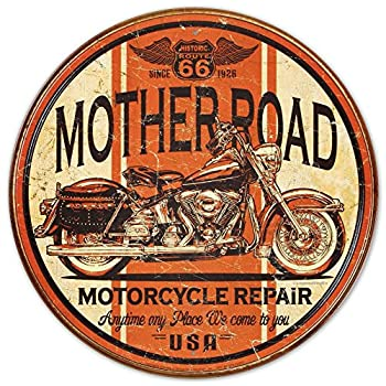 Mother Road Motorcycle Repair Round Distressed Retro Vintage Tin Sign