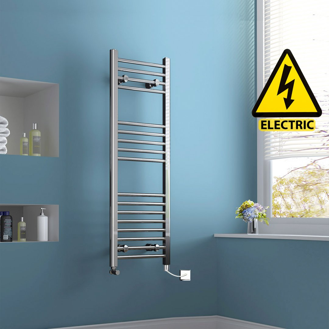 1200 x 400 mm Electric Straight Towel Rail Radiator Chrome Heated Ladder  iBath       Customer reviews and more info