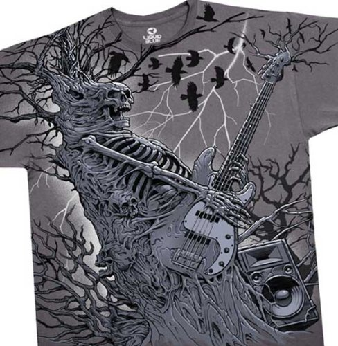 Skeleton Playing The Guitar T-Shirt, Rockpocalypse Liquid Blue Full Shirt Designs, Large, Gray (as Pictured)