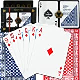 Copag Pinochle Cards Red/Blue Poker Size Standard Index 100% Plastic Cards with Protective Plastic Case