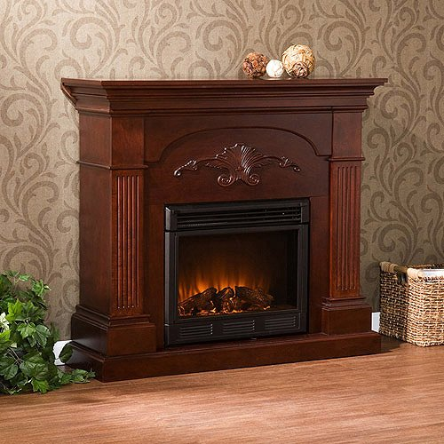 Home Electric Fireplace, Scroll Applique, Ember Brightness, Mahogany Finish,