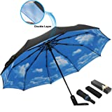 ESUFEIR 10 Ribs Golf Umbrella Large Windproof Umbrella, Compact Auto Open Close Travel Umbrella with Double Layer Design, Sturdy UV Protection Waterproof Umbrella (Blue Sky) (Color: Black)