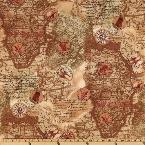 Amazon.com: 44'' Wide World Map Neutral Fabric By The Yard