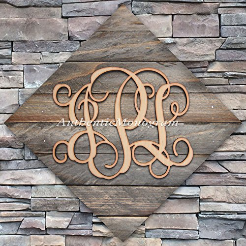 "Wooden Monogram Mounted On Vintage Weathered Board In Diamond Shape, Home Decor, Wedding Decor, Initial Monogram, Wallhanging. (18"") front-1027309"
