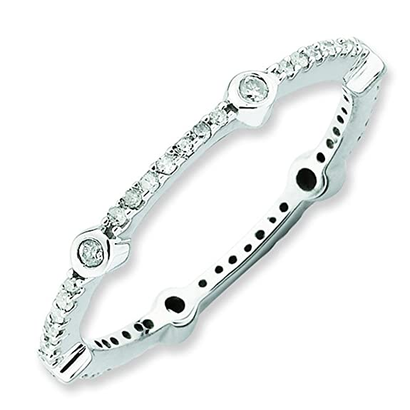 Stackable Expressions Size 5 - Diamond 2.5mm Bezel & Prong Band Sterling Silver Stackable Ring UK Ring Size - J
