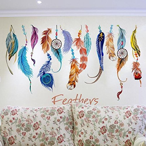 Bigban 1 PC Classic Creative Dream Catcher Feather Wall Sticker Art Decal Mural (Classic Car Wallpaper Border compare prices)