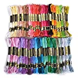 Embroidery Thread 100 Cotton 50 x Assorted Coloured Skeins With one LUXEOS Velvet Bag