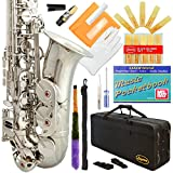 360-NK - Silver/Nickel Eb E Flat Alto Saxophone Sax Lazarro+11 Reeds,Music Pocketbook,Case,Care Kit - 24 Colors with Silver or Gold Keys