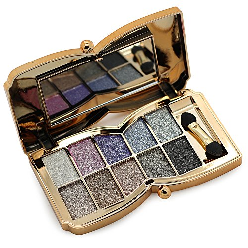 Tmalltide Professional 10 Colors Diamond Bright Colorful Eye Shadow Super Flash Shimmer Matte Eyeshadow Colour Concealer Palette & brush for Gift From US