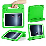 CAM-ULATA Compatible with 2018/2017 New iPad Case 9.7 inch for Kids Folio Shockproof Corner Protection Lightweight Cover for iPad Air iPad Air2 Kid Proof Green (Color: Green)