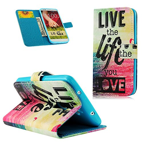 Mollycoocle Fashion Style Wallet Card Case Magnetic Design Flip Folio Pu Leather Cover Standup Cover Case With Red Blue Sea Letter Pattern For Lg G2