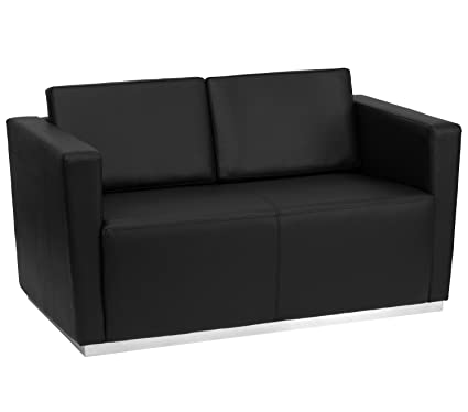 HERCULES Trinity Series Contemporary Black Leather Love Seat with Stainless Steel Base