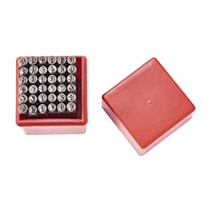Pandahall 1Box/36pcs Iron Letter Alphabet Initials A-Z and Number 0-9 Seal Stamps Metal Steel Tag Pendant Stamping Tool Message Word Phrase Inked Set Black 60x6mm (Color: Stamps Tool, Tamaño: One Size)
