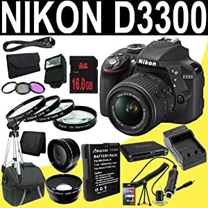 Nikon D3300 24.2 MP CMOS Digital SLR with 18-55mm f/3.5-5.6 AF-S DX VR II NIKKOR Zoom Lens (Black) + EN-EL14 Replacement Lithium Ion Battery + External Rapid Charger + 16GB SDHC Class 10 Memory Card + 52mm Wide Angle Lens + 52mm 2x Telephoto Lens + 52mm 3 Piece Filter Kit + 52mm Macro Close Up Kit + Mini HDMI Cable + Carrying Case + Full Size Tripod + External Flash + Multi Card USB Reader + Memory Card Wallet + Deluxe Starter Kit